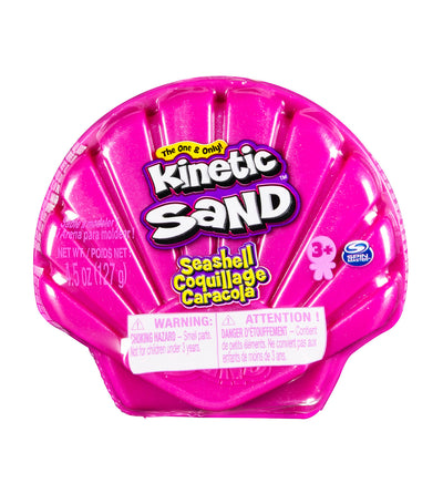 kinetic sand 4.5oz seashell container - pink