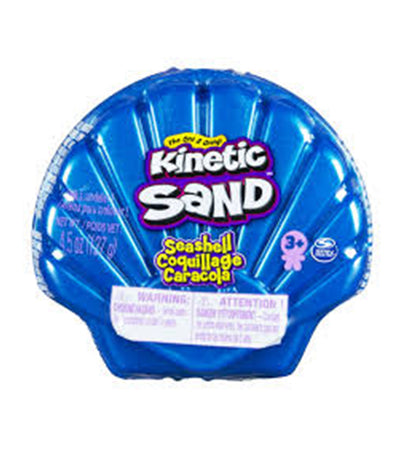 kinetic sand 4.5oz seashell container - blue