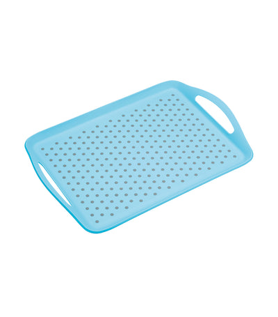 kitchencraft colourworks anti-slip plastic serving tray blue