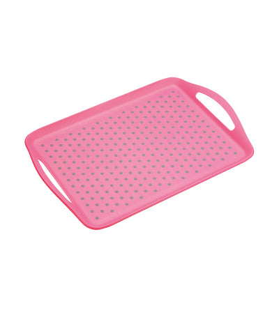 kitchencraft colourworks anti-slip plastic serving tray pink