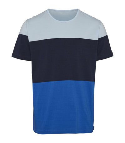 knowledge cotton apparel block-stripe cut and sew t-shirt olympia blue
