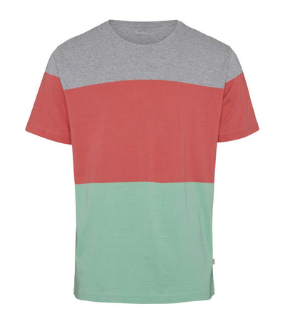 knowledge cotton apparel block-stripe cut and sew t-shirt dusty jade green