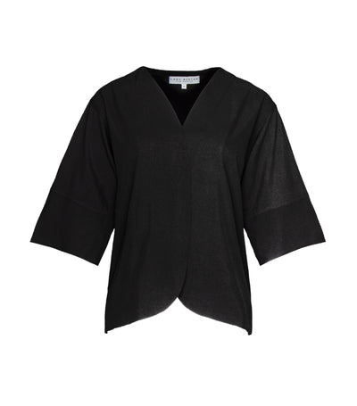 lady rustan larkin v-neck blouse black
