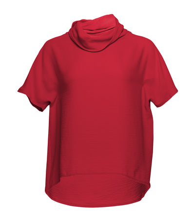 lady rustan megan turtleneck blouse red