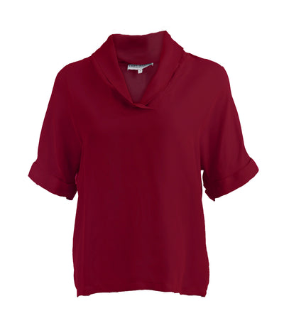 lady rustan tamira draped collar blouse maroon