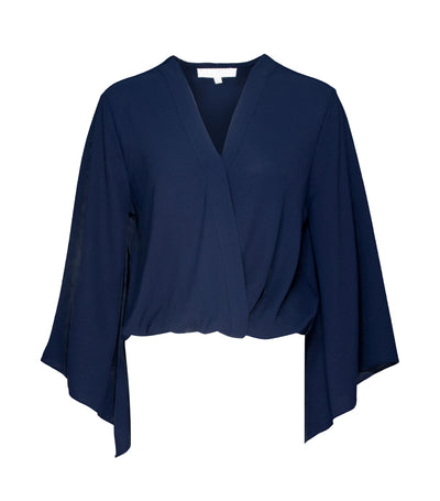 lady rustan tara long sleeve overlap blouse blue