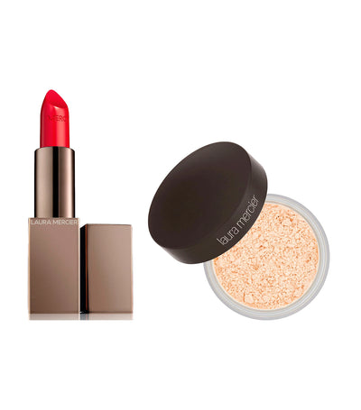 laura mercier i am confident: lip + powder duo set