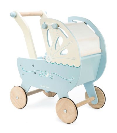 le toy van honeybake moonlight pram blue