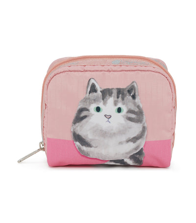 lesportsac cat cuddle square cosmetic pouch