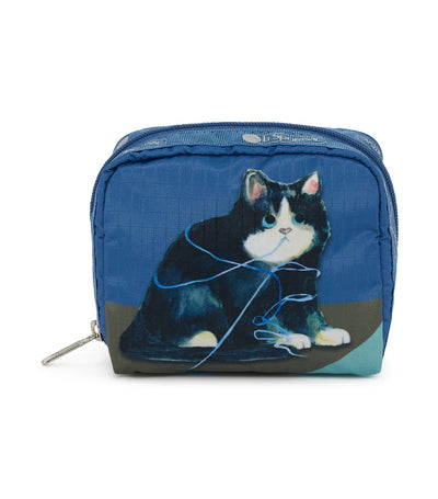 lesportsac cat play square cosmetic pouch