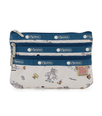 lesportsac x tom and jerry 3-zip cosmetic bag the chase