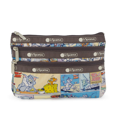 lesportsac x tom and jerry 3-zip cosmetic bag comic