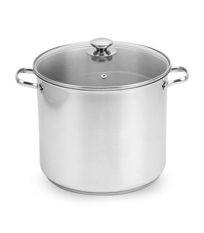 lifestyle silver stainless steel stockpot with glass cover