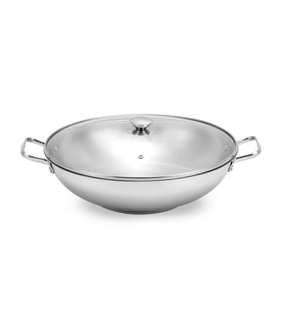 lifestyle silver stainless steel wok with glass cover