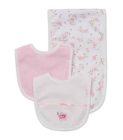 Bib and Burp Pad Set - Rose