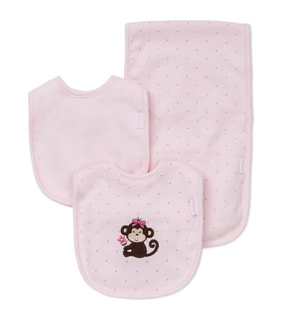 Bib and Burp Pad Set - Pretty Monkey