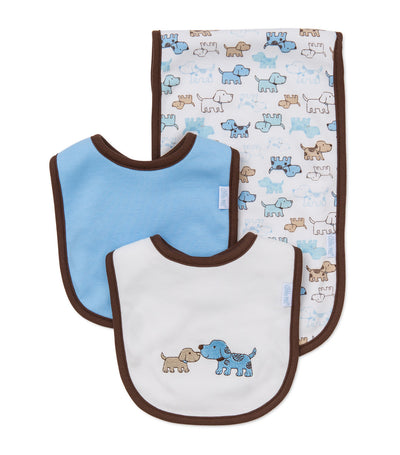 Bib and Burp Pad Set - Cute Puppies