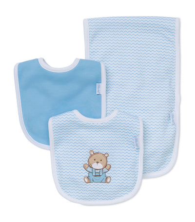 Bib and Burp Pad Set - Chevron Bear