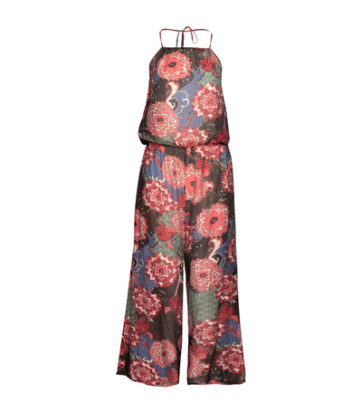 lotus resortwear alicia halter jumpsuit with beads printed