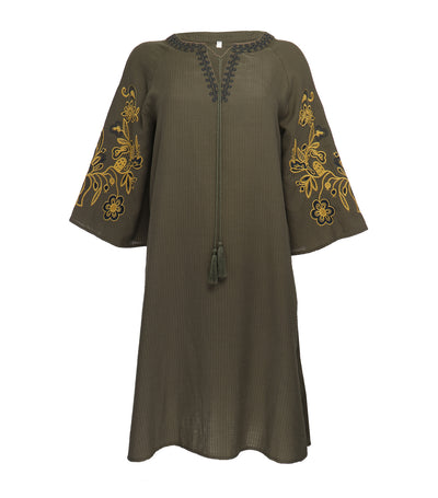 lotus resortwear kit embroidered tunic olive