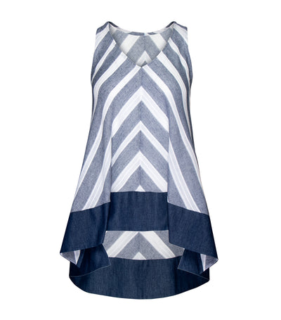 lotus resortwear teresa sleeveless shift top blue