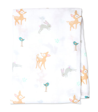lulujo cotton muslin swaddling blanket (single) - little fawn