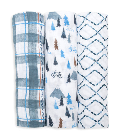 lulujo cotton muslin swaddling blankets (set of 3) - navy mountain