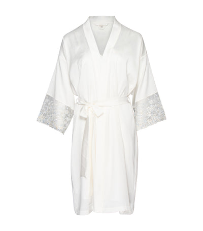 luna loungewear & sleepwear ann marie robe peignoir set with blue lace
