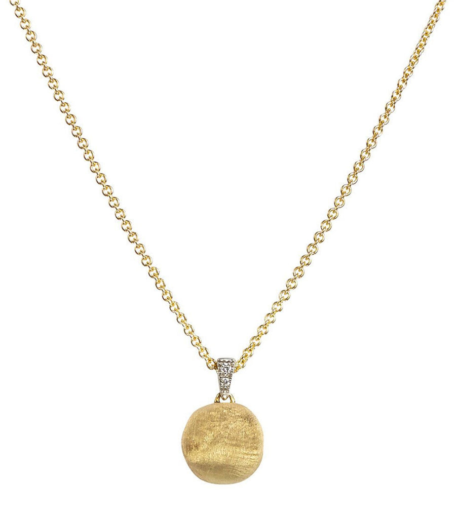 marco bicego delicati yellow gold and diamonds round bead pendant necklace