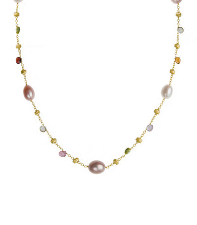 marco bicego paradise yellow gold mixed-stone and pearl necklace