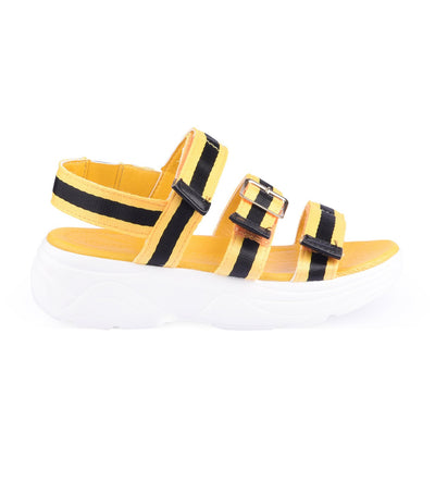 meet my feet yellow/black pretoria chunky sandals