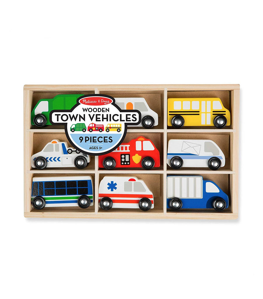 melissa & doug wooden town vehicles set