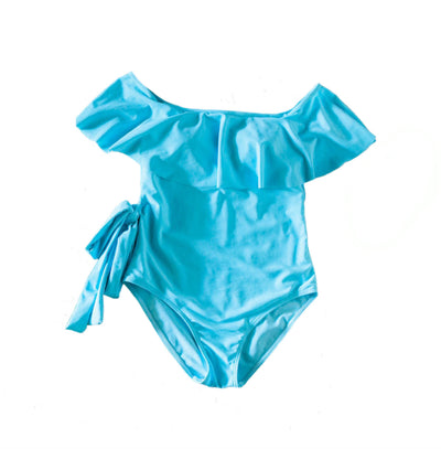 mommy hugs one piece swimsuit - baby blue