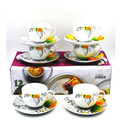 multiple choice 12-piece cup and saucer set - limoncello