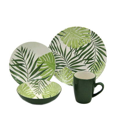 multiple choice 16-piece dinner set stoneware - palm leaf green