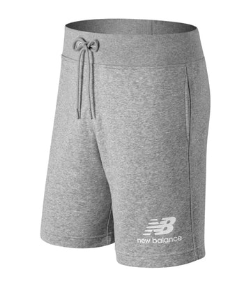 new balance essentials stacked logo shorts gray