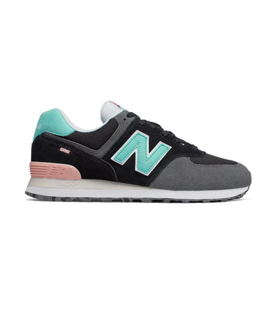 new balance 574 marbled street sneakers black and light tidepool
