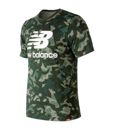 new balance essential stacked logo t-shirt military green