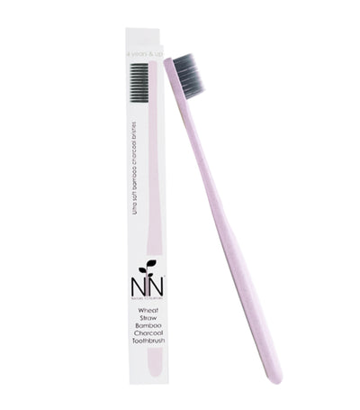 nature to nurture wheat straw bamboo charcoal toothbrush 4 years and up pink