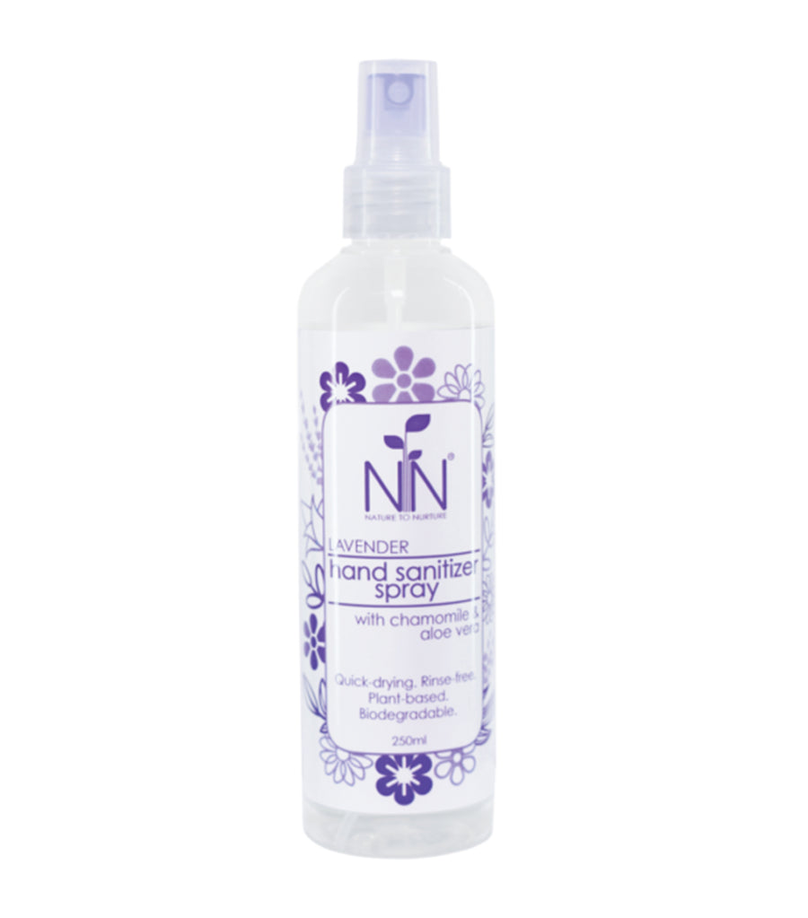 nature to nurture lavender hand sanitizer spray with chamomile and aloe vera 250ml