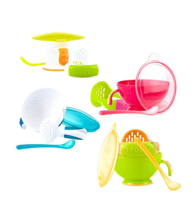 nuby assorted single mash n' feed bowl with spoon and food masher