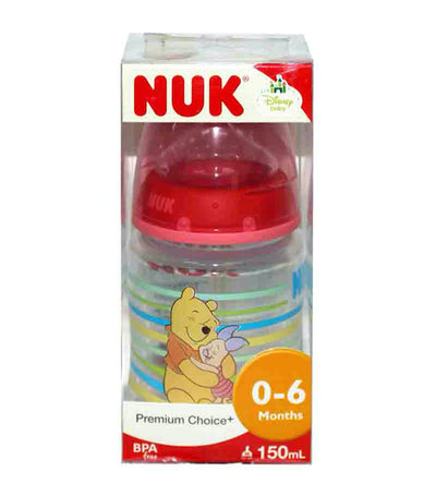 nuk premium choice winnie the pooh polypropylene bottle with silicone teat s1 medium - assorted