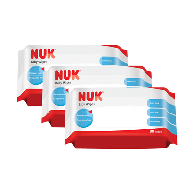 nuk baby wipes 3 packs of 80 pieces