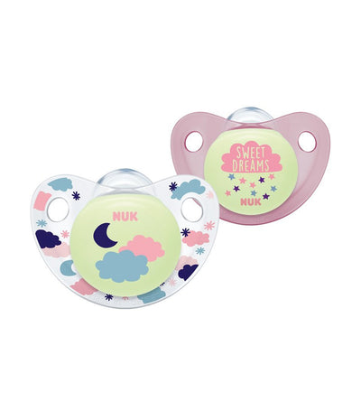 nuk night and day silicone soother size 3 (18 - 36 months) pack of 2 - assorted