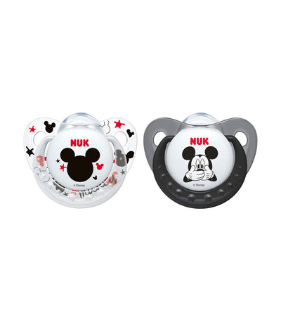 nuk mickey size 2 silicone soother pack of 2 - assorted
