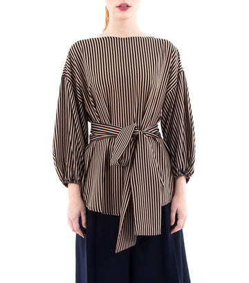 oleg cassini woman colette crepe blouse brown