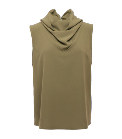 oleg cassini woman indira sleeveless cowl neck top green