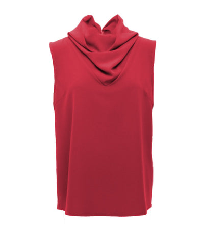 oleg cassini woman indira sleeveless cowl neck top red