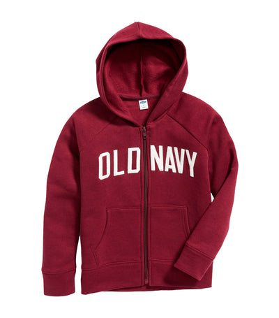 old navy kids wine stain logo-applique zip hoodie