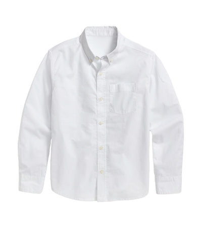 old navy kids calla lily white built-in flex long-sleeve shirt